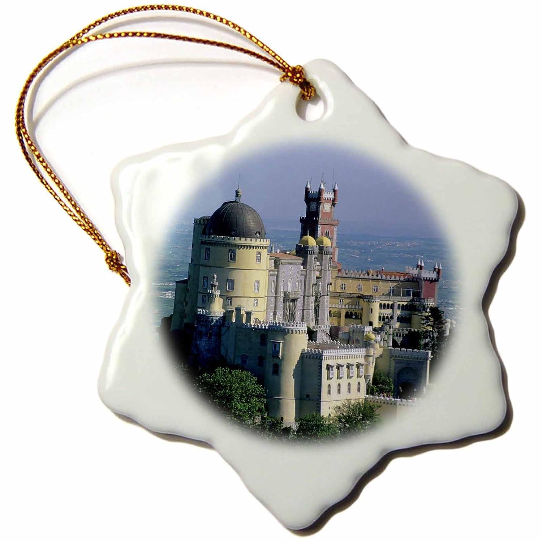 Pena Palace 3 inch Snowflake Porcelain Ornament 3dRose Danita Delimont Kevin Schafer orn/_82474/_1 Palaces Serra da Sintra EU23 KSC0001 Portugal Sintra