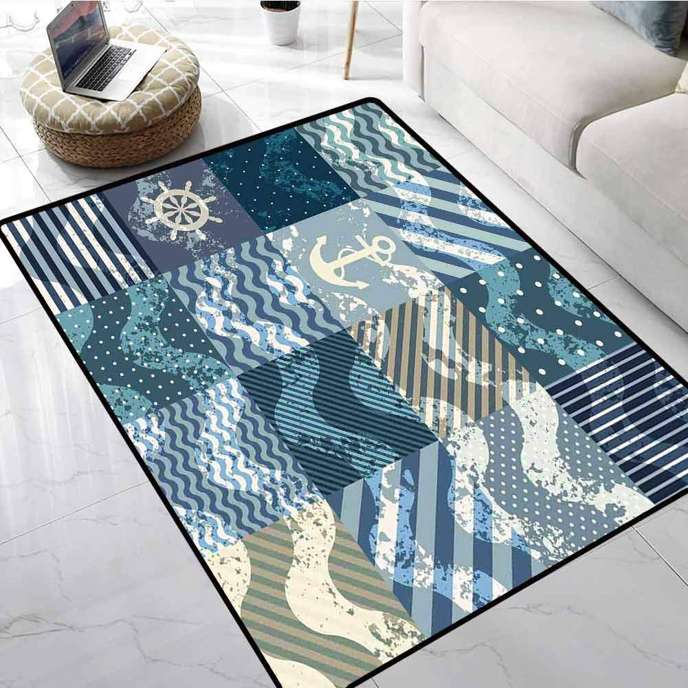 Nautical Non Slip Absorbent Carpet Marine Theme Wave Patterns in Patchwork Style Boxes Squares Striped Anchor Print Office Chair Floor Mat Foot Pad 80 X 96 Inch