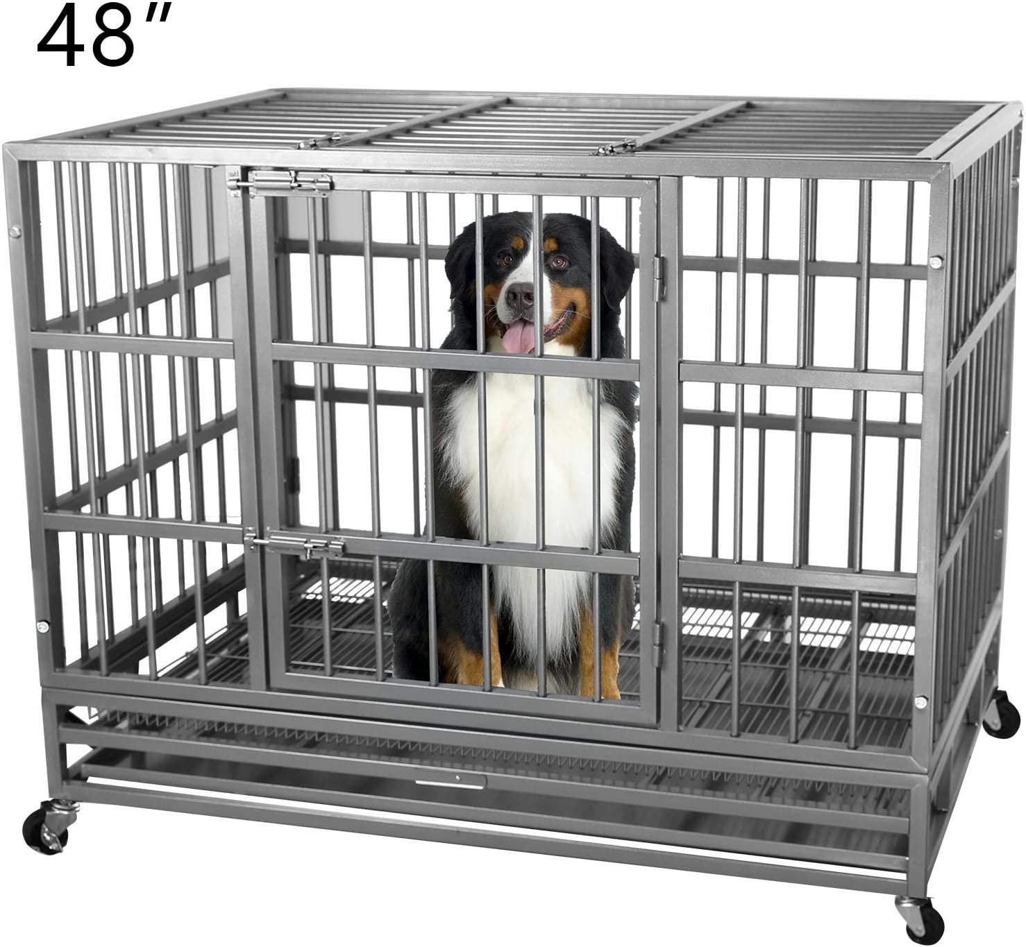 ITORI Heavy Duty Metal Dog Cage Kennel Crate and Playpen for Training Large Dog Indoor Outdoor with Double Doors Locks Design Included Lockable Wheels Removable Tray 42in 48in