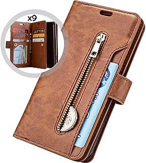 Saceebe kompatibel mit Galaxy A40 Leder Hülle,Leder Flip Case Multifunktionales Geldbörsenholster mit 9 Kartenschlitzen und Reißverschluss Ledertasche Handyhülle Schutz stoßfest Schutzhülle,dunkelblau