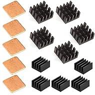 Easycargo 15 pcs Raspberry Pi Heatsink Kit Aluminum + Copper + 3M 8810 thermal conductive adhesive tape for cooling cooler Raspberry Pi 3 B+, Pi 3 B, Pi 2, Pi Model B+