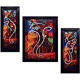 INDIANARA 3 PC Set of Ganesha Paintings (1088) Without Glass 5.2 X 12.5, 9.5 X 12.5, 5.2 X 12.5 inch
