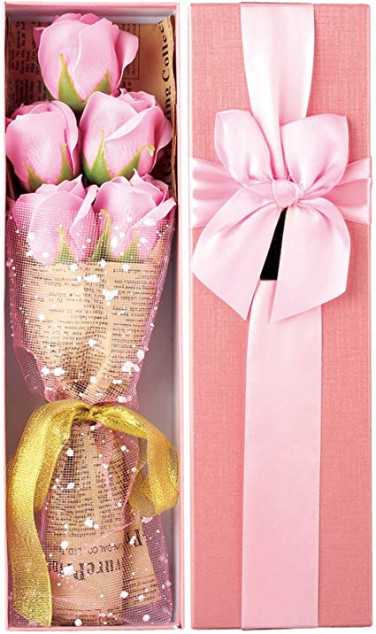 kufox5pcs/caja romántico rosa flores de jabón con caja bonita ...
