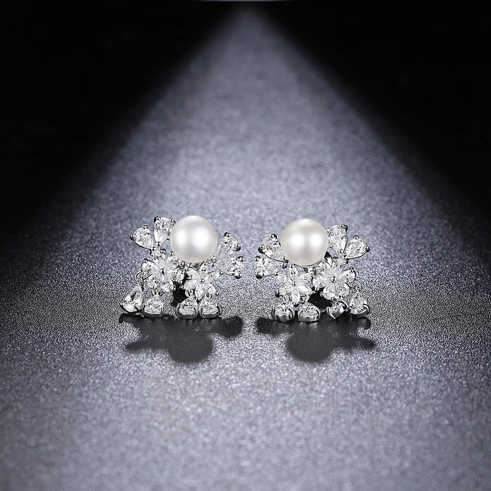 Onefeart Platinum Plated Stud Earrings for Women Round Pearl Simple Style Graceful Flowers Design Earrings 20.75x18.4MM White Gold
