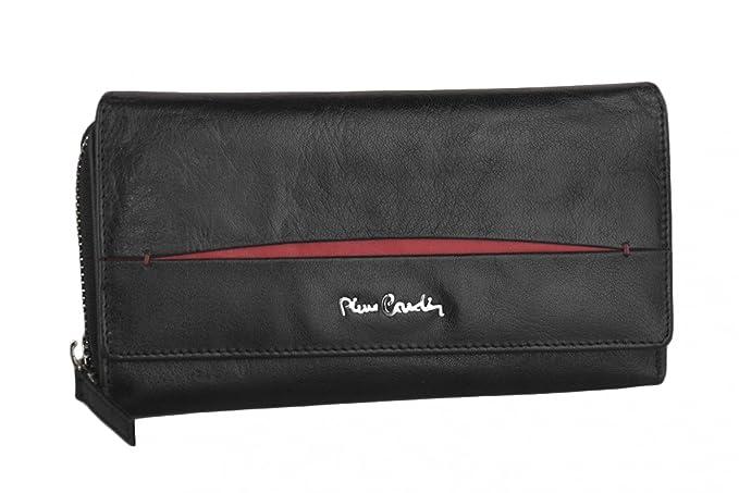 cartera mujer PIERRE CARDIN negro en cuero con abertura zip y boton: Amazon.es: Ropa y accesorios