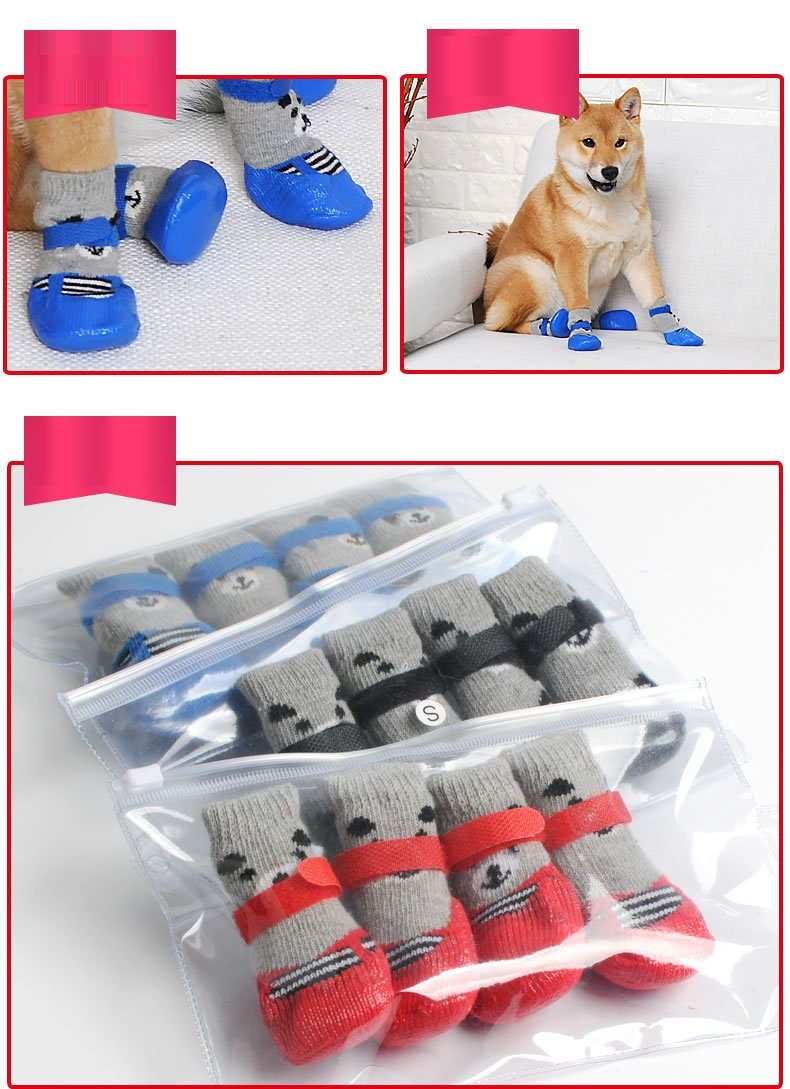 Stock Show Pet Dog Cat Waterproof Socks, Anti Slip Bottom Warm Cotton Silicone Sole Paw Protectors for Indoor Outdoor Wear, Set of 4Pcs, Black