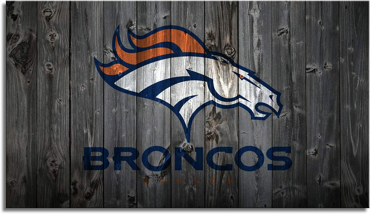 MIAUEN Denver Broncos Poster Wall Decor Canvas Art Prints Picture Framed Sports Football Home Decoration Living Room Bedroom Game Room Paintings Ready to Hang(28''Wx16''H)
