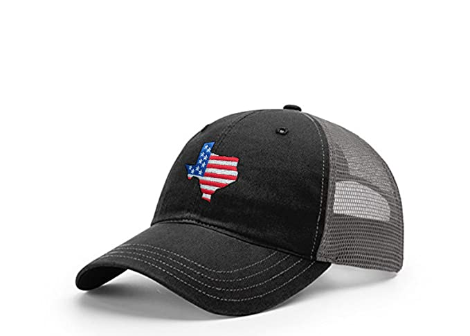 28706fdbf09 STATEE Texas American Flag Relaxed Fit Mesh Hat(Black Gray) at ...