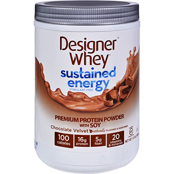 Designer Whey Protein Powder - Sustained Energy - Chocolate Velvet - 1.5 lb - Gluten Free