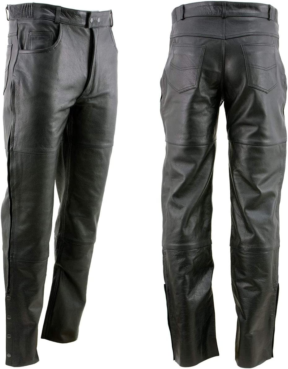 Xelement B7470 Mens Black Premium Leather Motorcycle Overpants with Side Zipper and Snaps 34