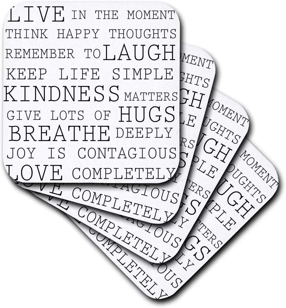 3dRose cst/_179040/_3 Inspirational Words Black and White Text-Ceramic Tile Coasters Set of 4
