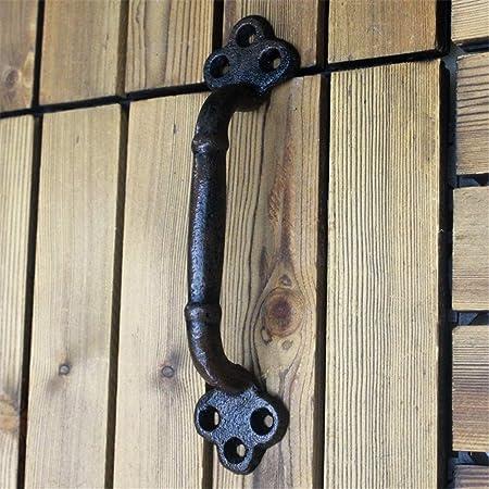 QiHaoHeji Tirador de Puerta corredera de Granero de Hierro Fundido para decoración del hogar, Tirador de Puerta, Metal, Hierro Fundido, Talla única: Amazon.es: Hogar