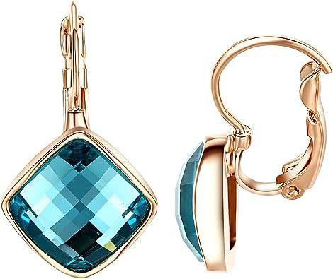 Jaune Rond Boucles d/'oreilles verre perles double Pretty Dangle Plaqué or Crochets