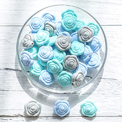 Food Grade Silicone Beads BPA Free for Baby Teething DIY Accessories to Relieve Teeth Pain (Blue Rose Series 20pc): Toys & Games