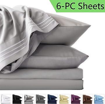 6 Piece Bedroom Bed Sheet Set 1800 Thread Count Turkish Cotton deep pocket NEW