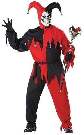 amazon com uhc men s evil jester clown outfit carnival theme