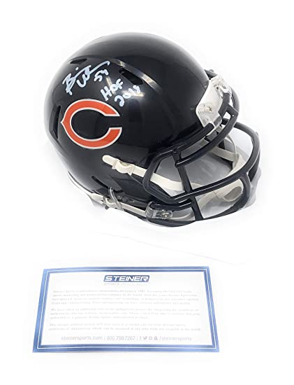 f43a5ec1cbf Brian Urlacher Chicago Bears Signed Autograph Speed Mini Helmet HOF  Inscribed Steiner Sports Certified