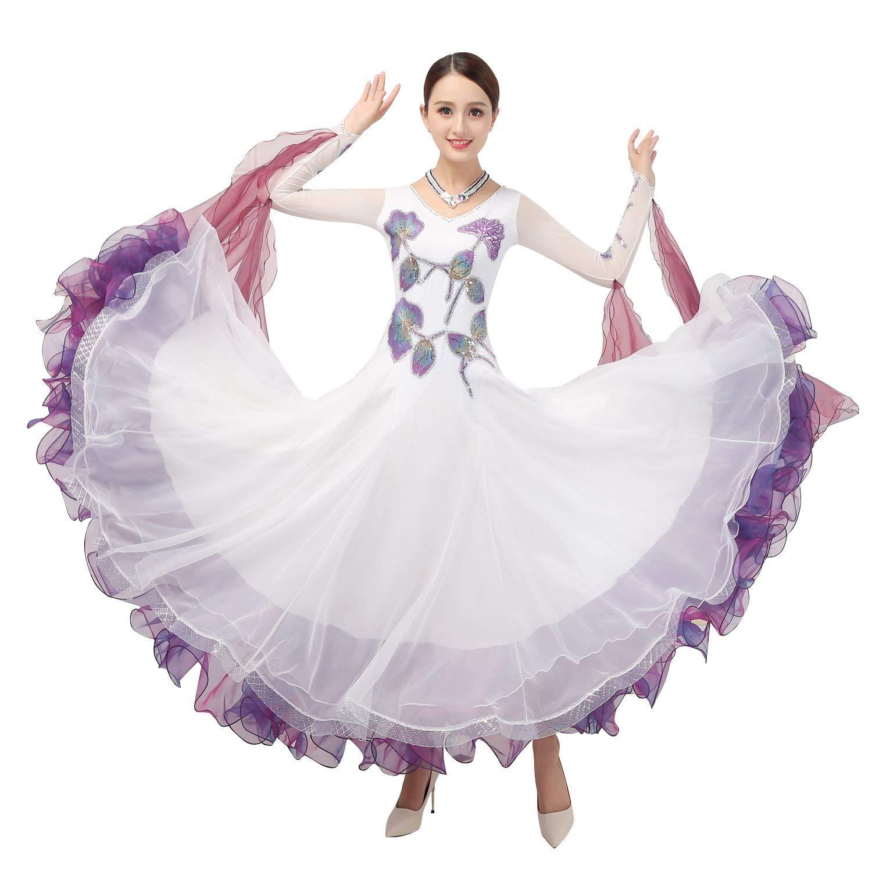 garuda 社交ダンス衣装 レディースダンス高級ドレス 上品ワルツ 競技ドレス サイズオーダー可 白 B07PGKFB1G ホワイト Large