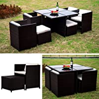 LinkLife 9 Pieces Rattan Dining Set Garden Wicker Sectional Sofa Set Outdoor Patio Furniuter All Weather Brown