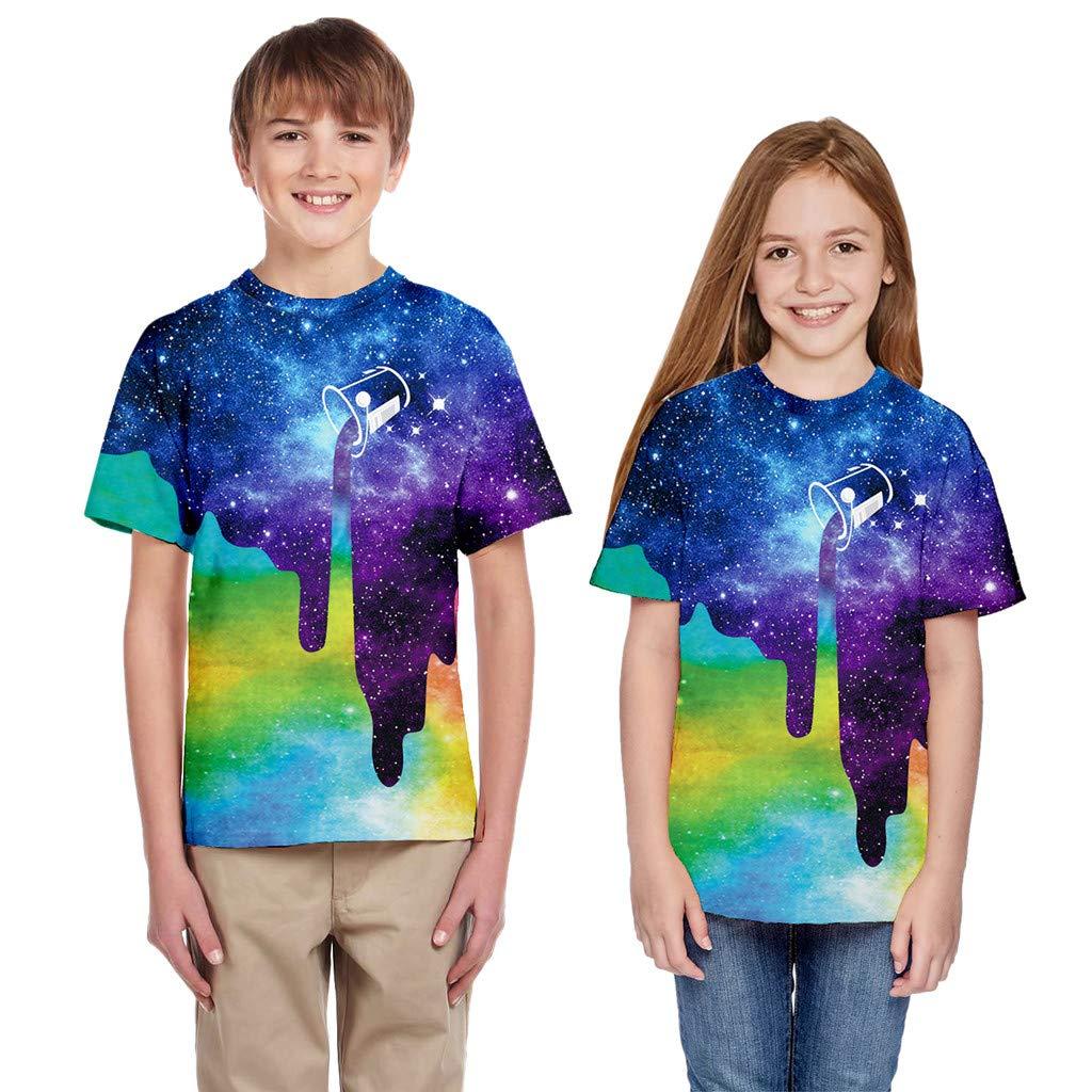 Toddler Kid Teens 3D Printed T-shirt,Girls Boys Summer Colorful Cartoon Soft T-shirt Tops Casual Clothes Under 10 Dollars
