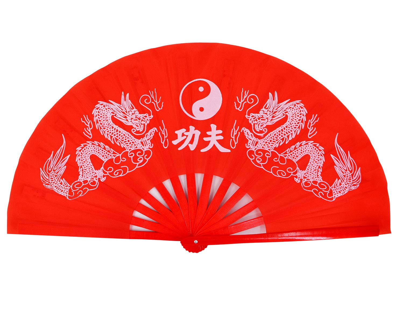 Amajiji Large Double Dragons Chinese Fan Tai Chi Kung Fu Folding Fan, Bamboo Frame Women/Men Hand Fans (Red)