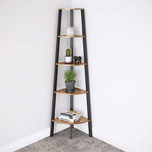 Ballucci Industrial Corner Shelf, 5-Tier Bookcase Storage Rack, Wood Plant Stand for Home or Office, Accent Furniture with Metal Frame, Rustic Brown