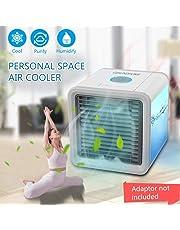 Mini Climatiseur Mobile - Mini Ventilateur USB & Rafraichisseur d'air 3 EN 1 Muitifonction Humidificateur Purificateur 7 Couleurs Changeantes pour Maison Bureau Voiture (Bleu 1)