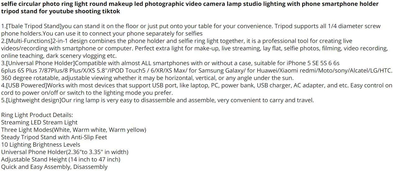 Damuxin 26cm 16cm Protable Selfie Ring Licht Für Youtube Live Streaming Studio Video Led Dimmbare Fotografie Beleuchtung Mit Usb Kabel Gelb Sport Freizeit
