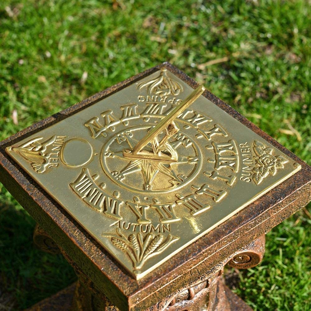 Outdoor Traditional Sundial With Stand Large 92cm Tall Antique Garden Ornament