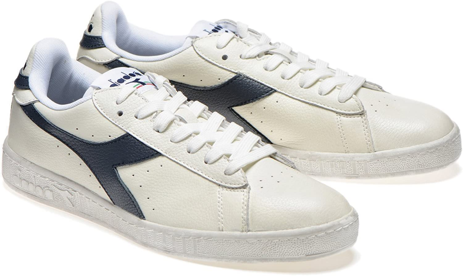 Diadora Game L Low Waxed, Chaussures de Gymnastique Mixte Adulte C5262 White Blue Sea Caspian