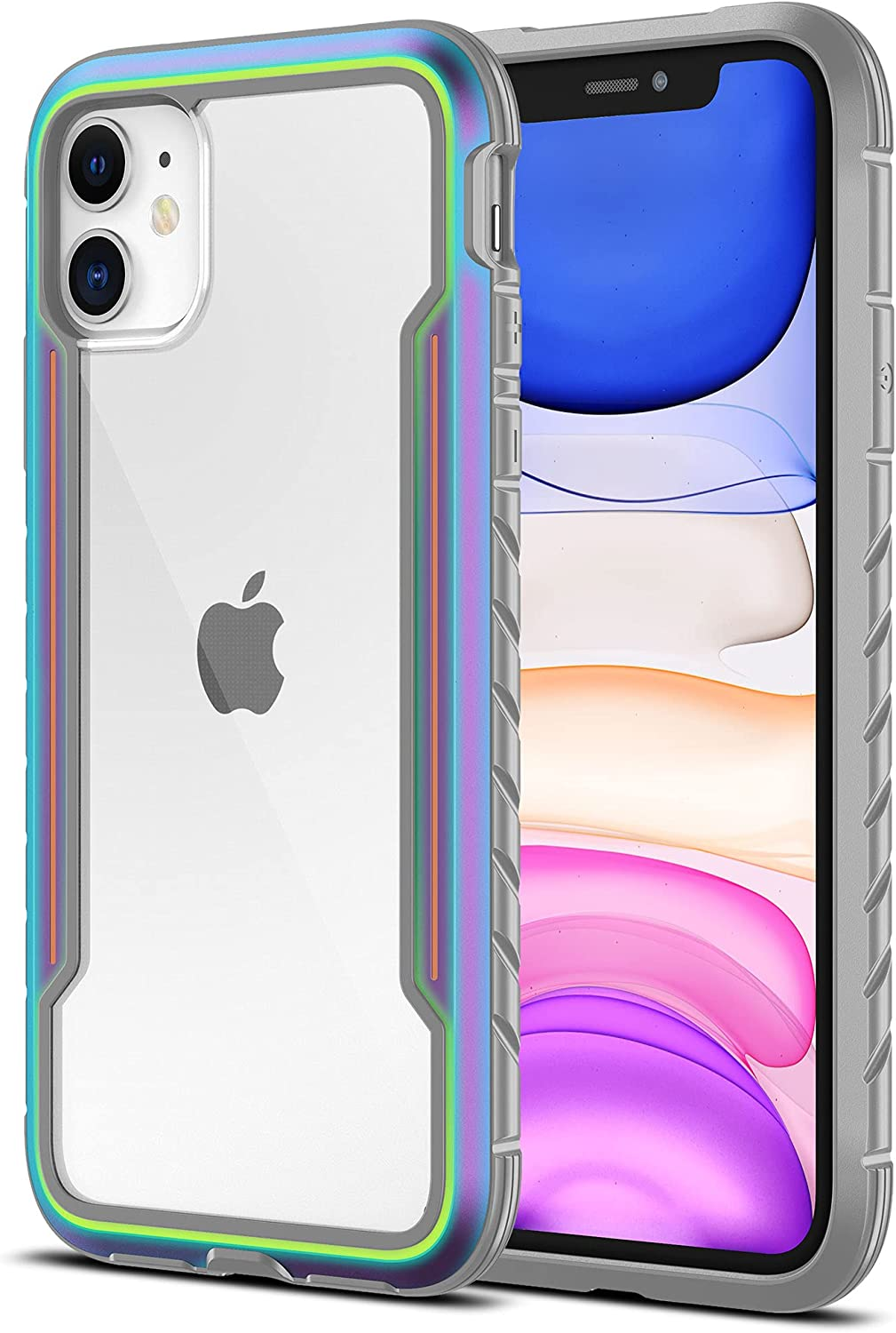 MRYUESG for iPhone 11 Case, Aluminum Alloy Frame, Silicone Soft Bumper, Clear Hard Back Panel, Military Grade Shock-Proof, Heavy Duty Protective Cover, for i-Phone11Case(6.1 Inch) - Iridescent