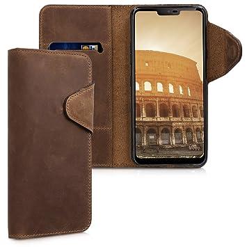 kalibri Funda para LG G7 ThinQ/Fit/One - Carcasa con [Tapa magnética] de [Cuero] - Case de Piel Real en [marrón]