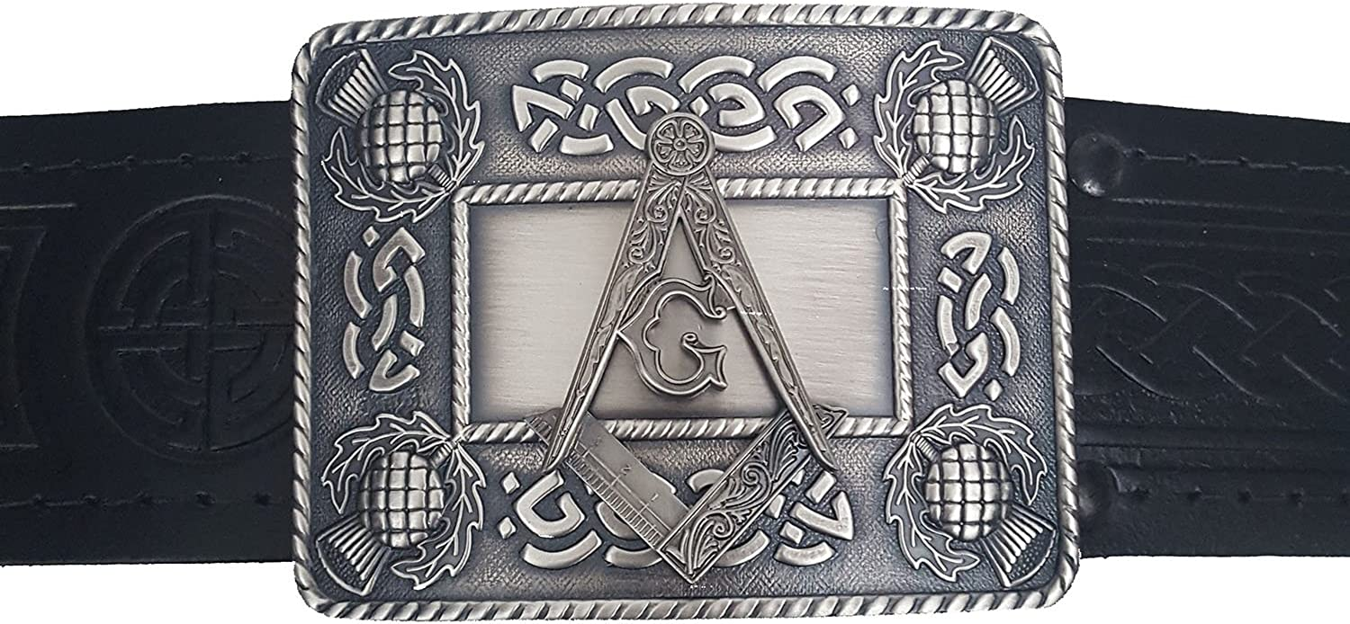 Quality Leather-Embossed Masonic Kilt Belt and Buckle Set-Made in Scotland