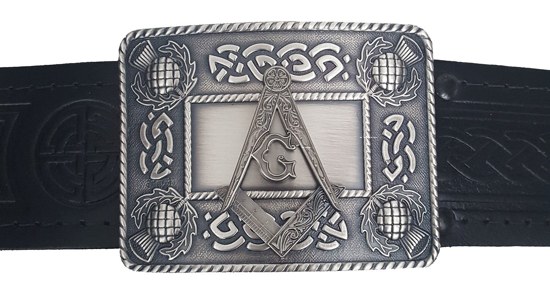 Quality Leather-Embossed Masonic Kilt Belt and Buckle Set-Made in Scotland (Medium Belt (30-40 inch waist))