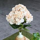 Soledì- 1 Mazzo di 5 Fiori Artificiali Ortensia, Fioritura in Seta, Bouquet Decorazione per Sposina Cerimonia Matrimonio Casa (Champagne)