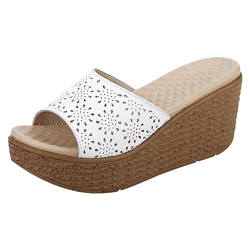 53e9fd0a384ca Frestepvie Mules Compensée Mode Femme Tongs Eté Sandales Confortable  Chaussure de Plage Vintage Vacances Dentelle Floral