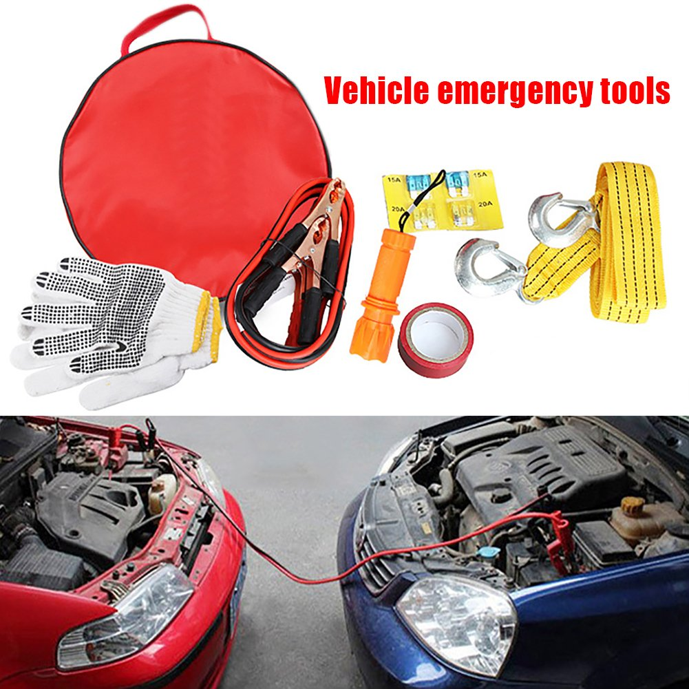 Auto Roadside Assistance Emergency Essentials Car Kit, Multi-Purpose Portable Emergency Tools with Battery cable, Gloves, Tape, Flashlight, Tow rope, Fuse Ideal Accessory For Your Car/Truck/SUV blue--net