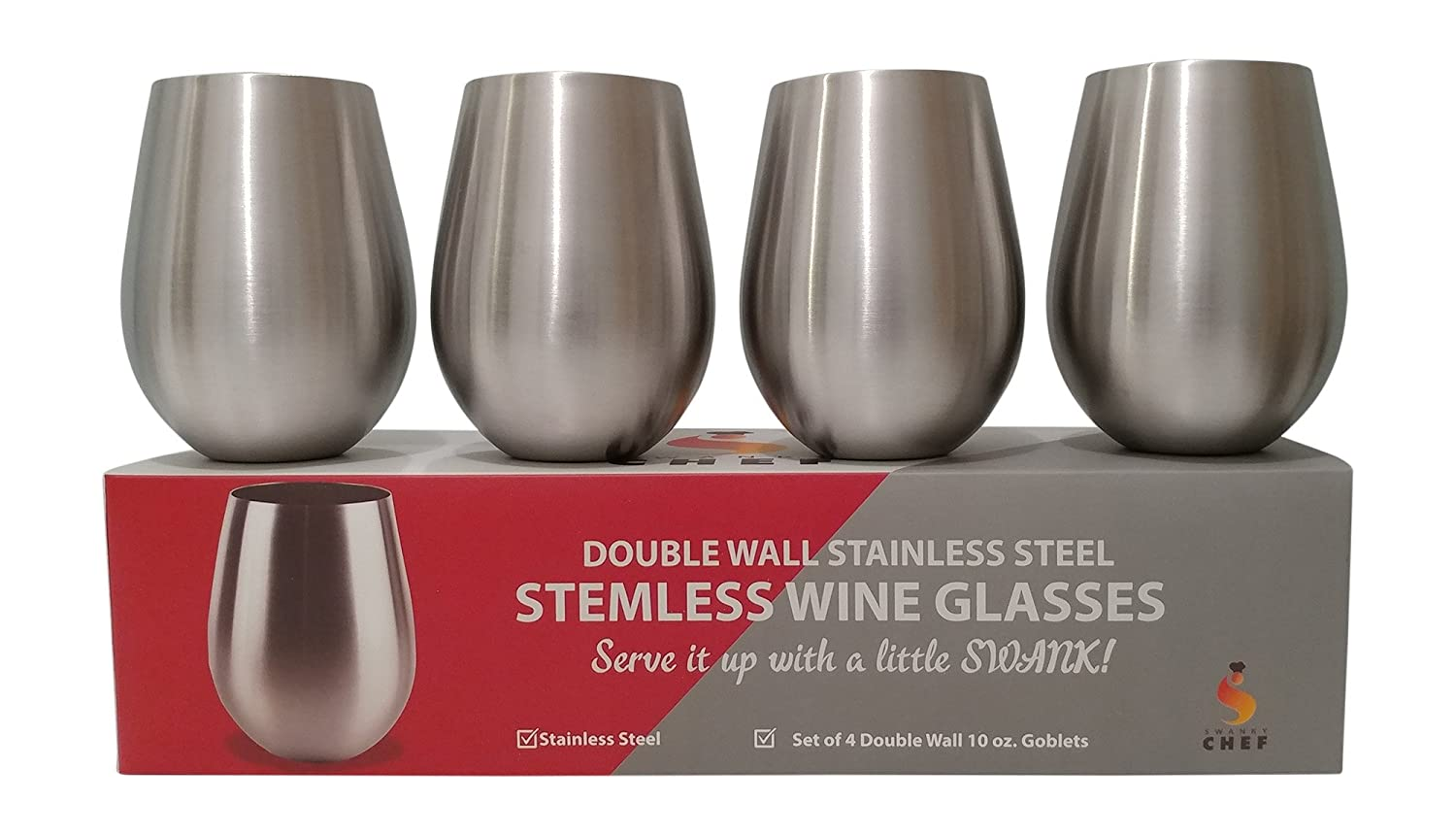 Swanky Chef Stainless Steel Stemless Wine Glasses Set of 4-Vacuum Insulated, Double Walled Tumblers-Keeps Hot and Cold Drinks The Right Temperature-Shatterproof And Sweat Proof Goblets