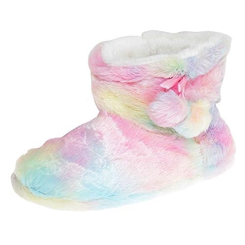 2a4884f58 Amazon.com | SlumberzzZ Womens/Ladies Rainbow Pom-Pom Slipper Boots |  Slippers