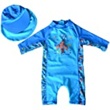 Bonverano TM Kids UPF 50+ Sun Protection S/S One Piece Zip Sun Suit with Sun Hat