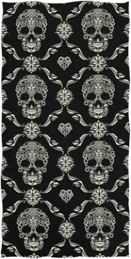 16 x 30,Floral Black Naanle Chic Skull Ornamental Pattern Soft Bath Towel Large Hand Towels Multipurpose for Bathroom Hotel Gym and Spa