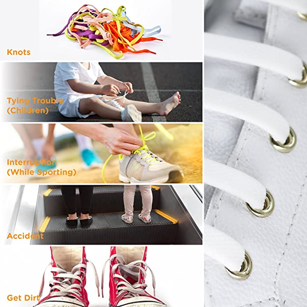 2993ef391d9a Amazon.com  TOTOMO Choose 2 Color Bundle No Tie Shoelaces for Both Adults    Kids Sneakers Flat Running Shoe Laces Tieless Elastic Silicone  Home    Kitchen