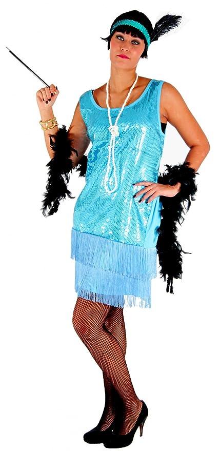 Foxxeo Turquesa 20s Vestido para señoras Elegante Traje de ...