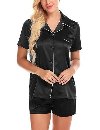 Womens Pajama Sets Pj Tops and Shorts Satin Sleepwear Winter Pyjamas Black S f5dc4fa7c