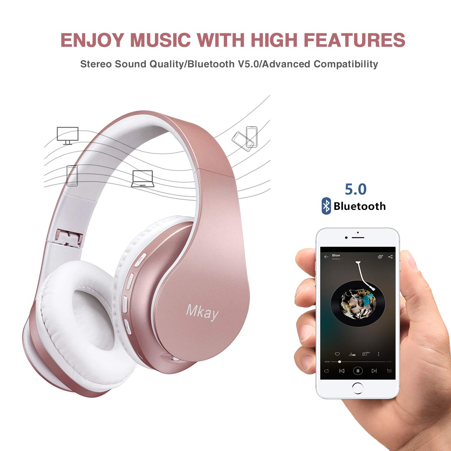 Over Ear Headset V5.0 with Microphone Foldable /& Lightweight MKay Bluetooth Headphones Wireless Support Tf Card MP3 Mode and Fm Radio for Cellphones Laptop TV-Rose Gold