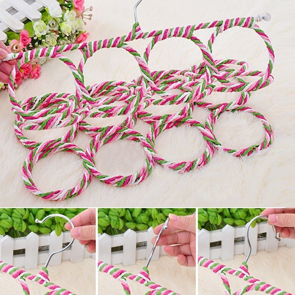 28 Ring Scarf Holder Tie Hanger Belt Closet Clothes Organizer Hook Storage by CE Compass (Image #3)
