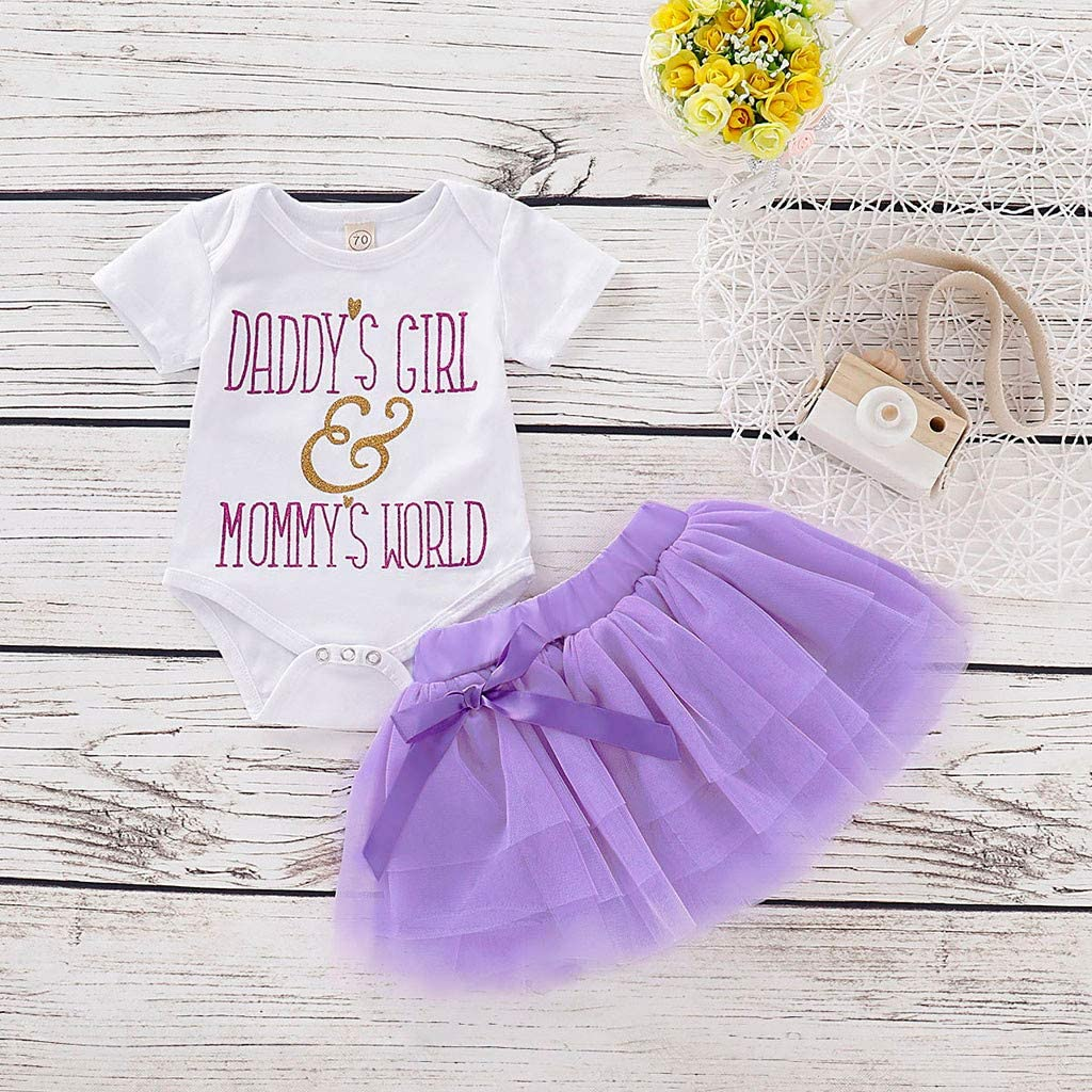Bow Tutu Tulle Skirt Clothes 2pcs Newborn Infant Baby Girls Summer Outfit Set Short Sleeve Letter Print Romper Tops