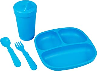 product image for Re-Play Made in The USA Toddler Diner Set | Divided Plate, No Spill Sippy Cup, Utensil Set | Eco Friendly Heavyweight Recycled Milk Jugs - Virtually Indestructible | Sky Blue