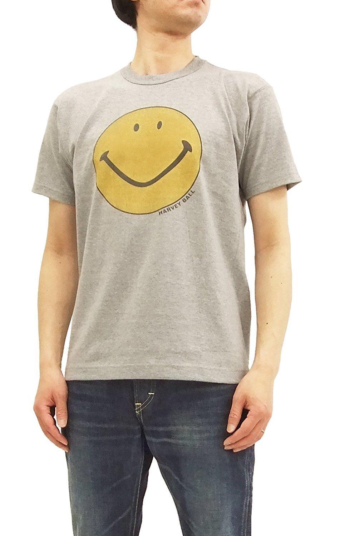 TOYS McCOY Men's Short Sleeve T-Shirt Smiley Face Graphic Tee TMC1802 Ash Gray Japan L (US S-M/UK 36-38)