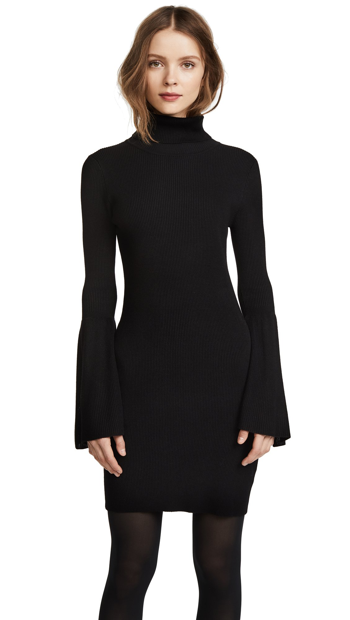 525 America Women's Rib Tulip Sleeve Turtleneck Dress, Black, Small